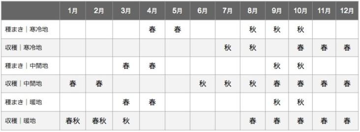 ゴボウの栽培カレンダー